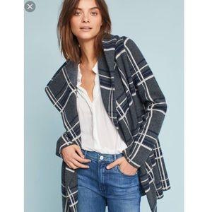 Anthro Glencoe Plaid Sweater Coat
